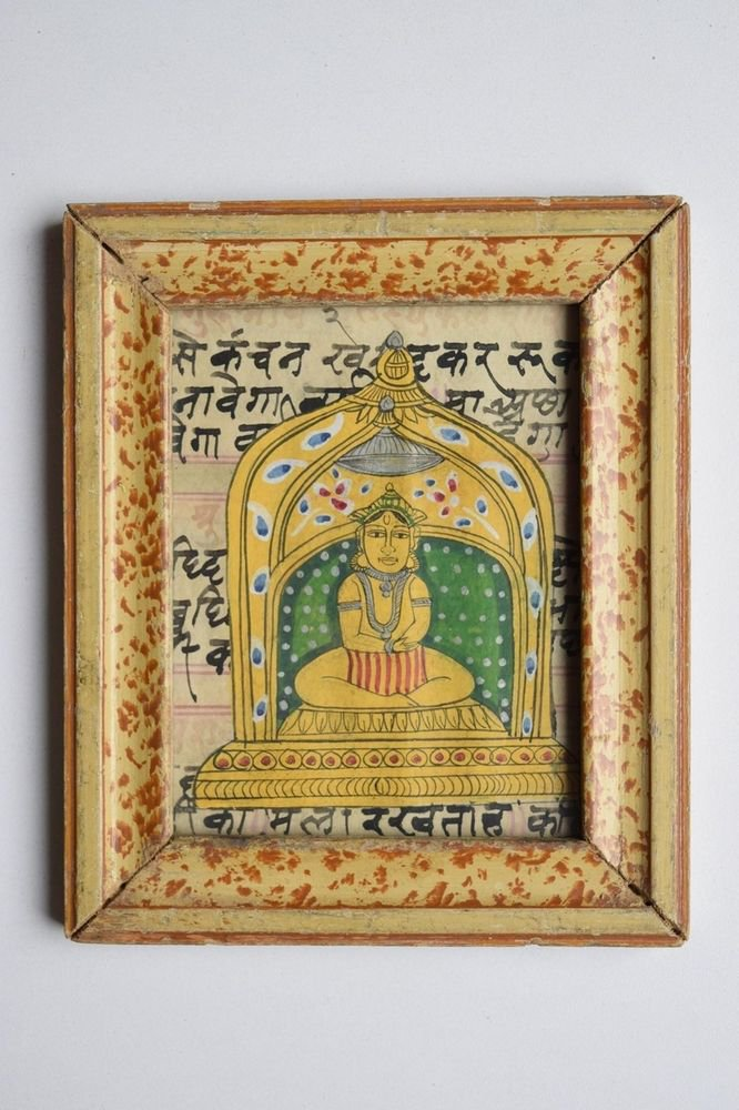 Jain God Painting on Old Manuscript Hand Color Painting in Old Wooden Frame#3098