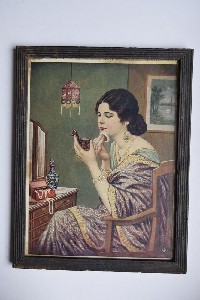 Woman Make Up Collectible Rare Old Print in Old Wooden Frame India Art #3139