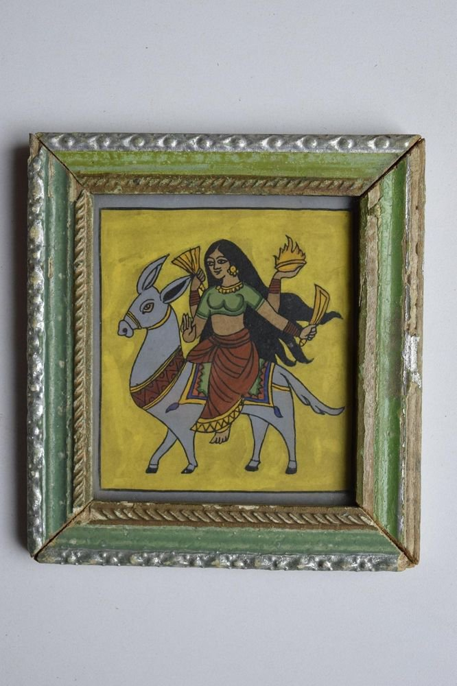 Beautiful Hindu Goddess Hand Color Folk Painting in Old Wooden Frame India #3091