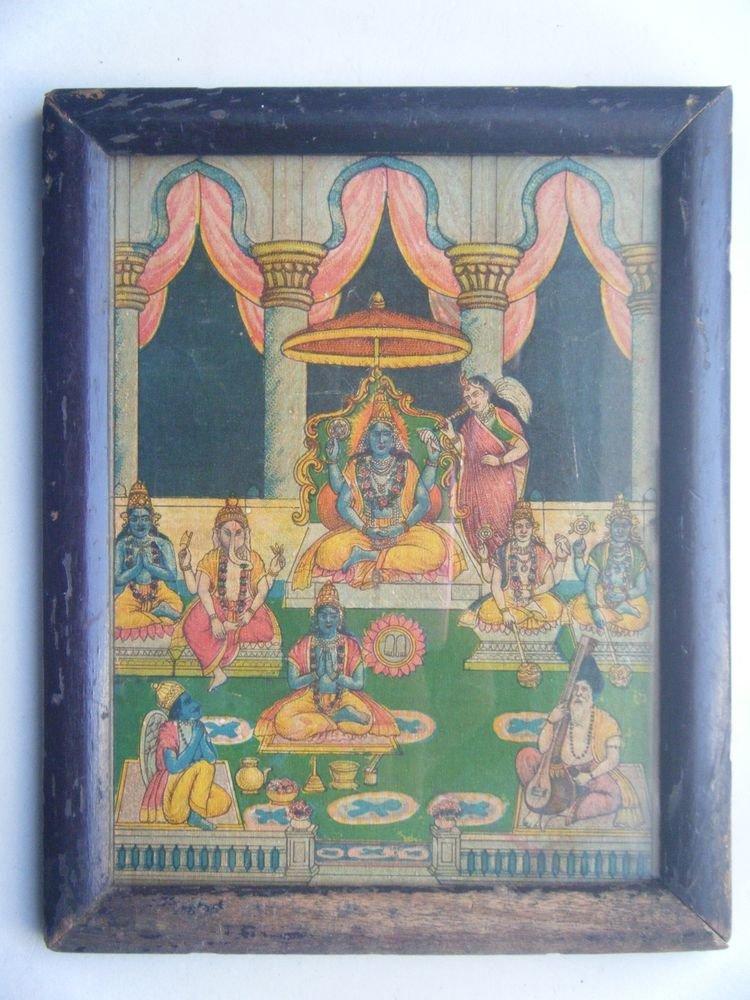 Hindu God Vishnu Rare Old Vintage Print in Old Wooden Frame Religious Art #2804