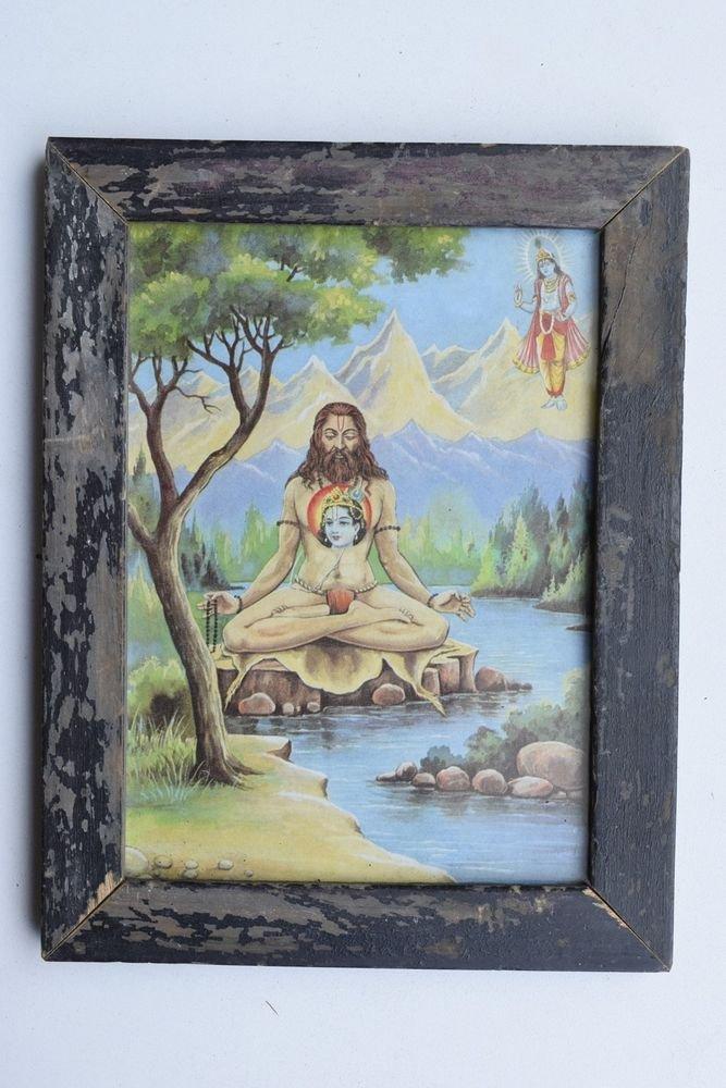 Sadhu Saint Meditation Yoga Rare Collectible Old Print in Old Wooden Frame #3273