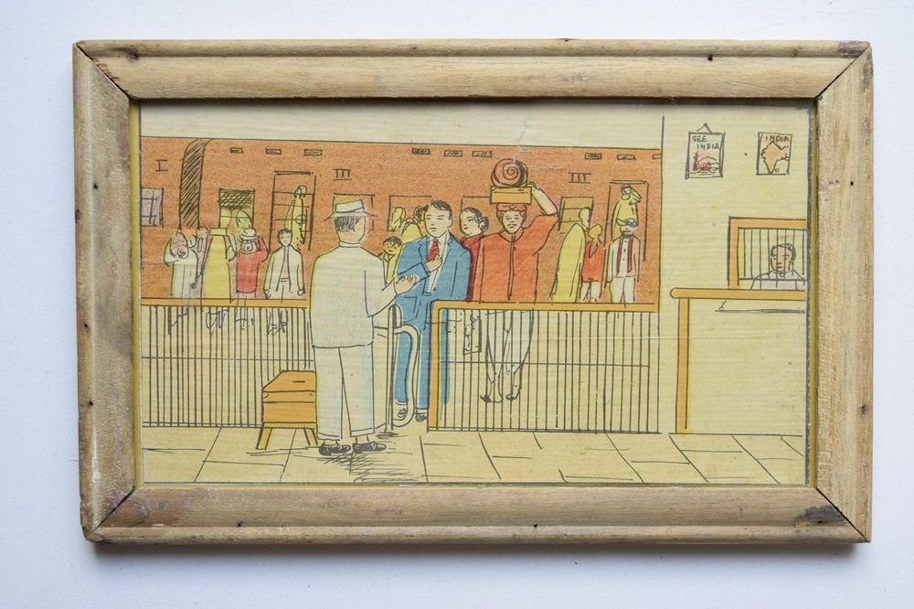 Old Educational Chart Calendar Learning School Print In Old Wooden Frame #3057
