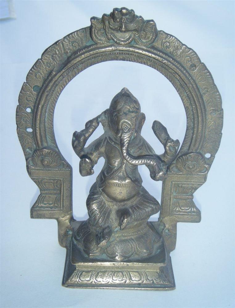 GANESHA Brass Statue Vintage Traditional Indian Elephant God Small Figure #964