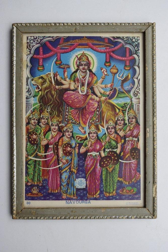 Goddess Durga Religious Rare Vintage Old Print in Old Wooden Frame #3014