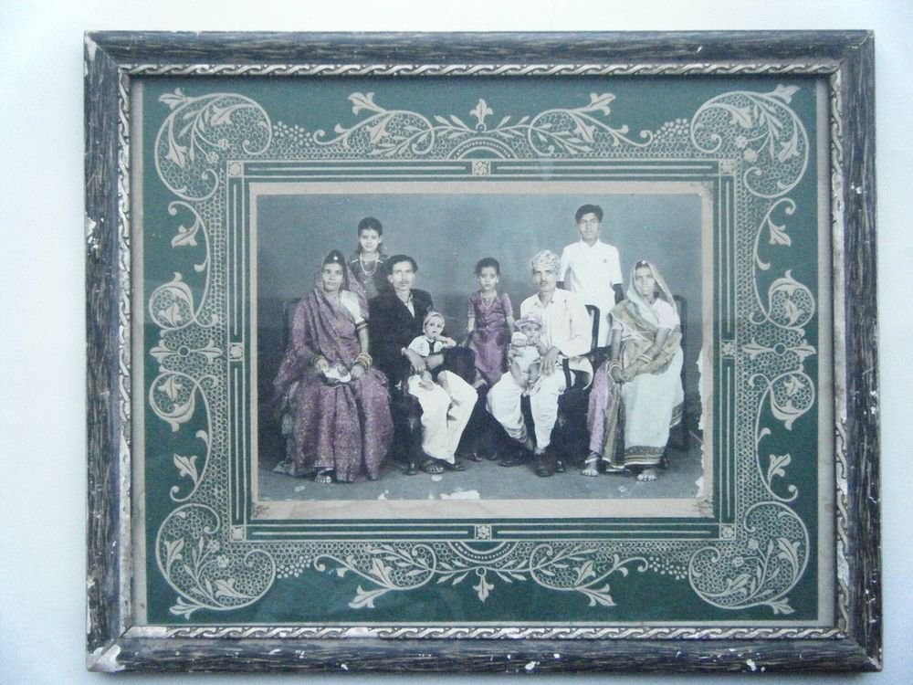 Original Old Hand Coloured Photograph, Vintage Photo in Old Wooden Frame #2670