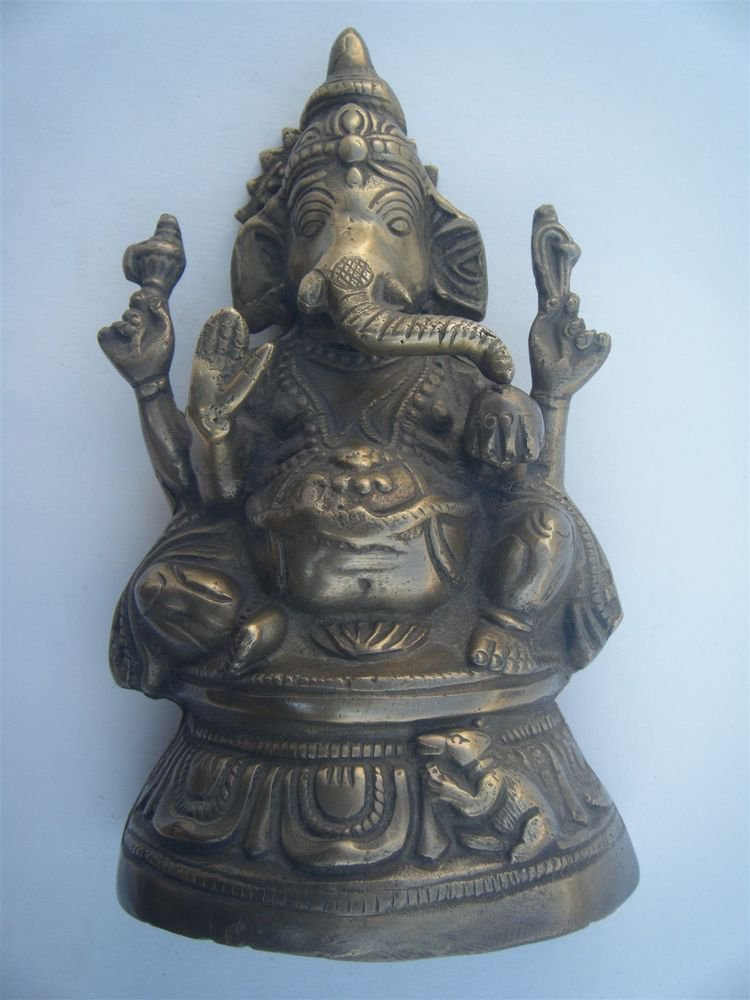 GANESHA Brass Statue Vintage Traditional Indian Elephant God Large Figure #970