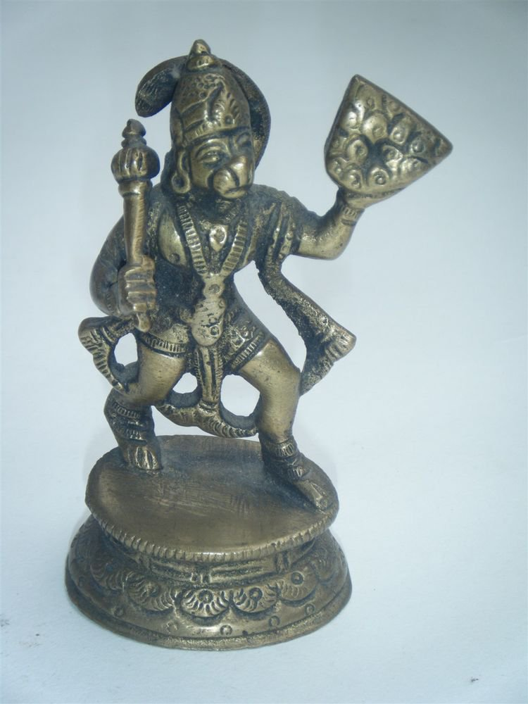 Brass Hanuman Antique Statue Collectible Artifact India Hindu Monkey God #893
