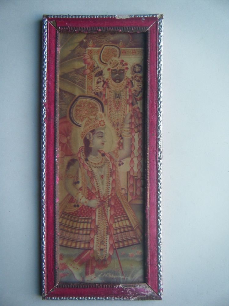 Hindu God Krishna Nice Old Religious Print in Old Wooden Frame India Art #2816