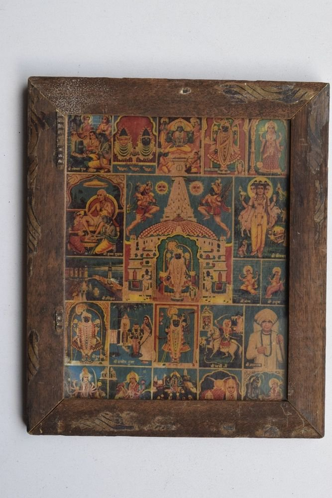 Shrinathji All Gods Old Original Hand Color Painting in Old Wooden Frame #3225