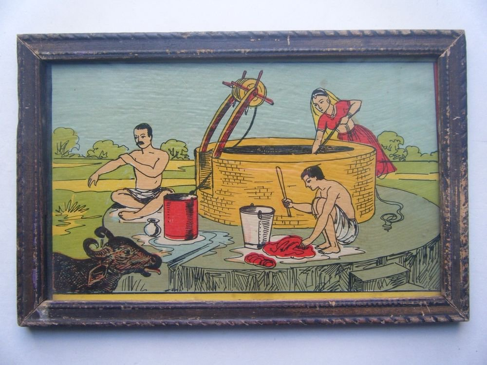 Old Educational Chart Calendar Learning School Print In Old Wooden Frame #2849