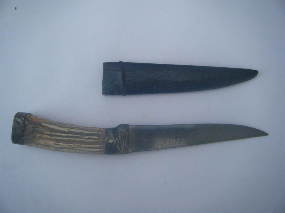 Rare Knife Handmade Deer Horn Handle Damascus Steel Knife with Silver Work #1170