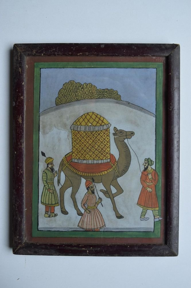 Beautiful Folk Style Camel Hand Color Painting in Old Wooden Frame India #3088