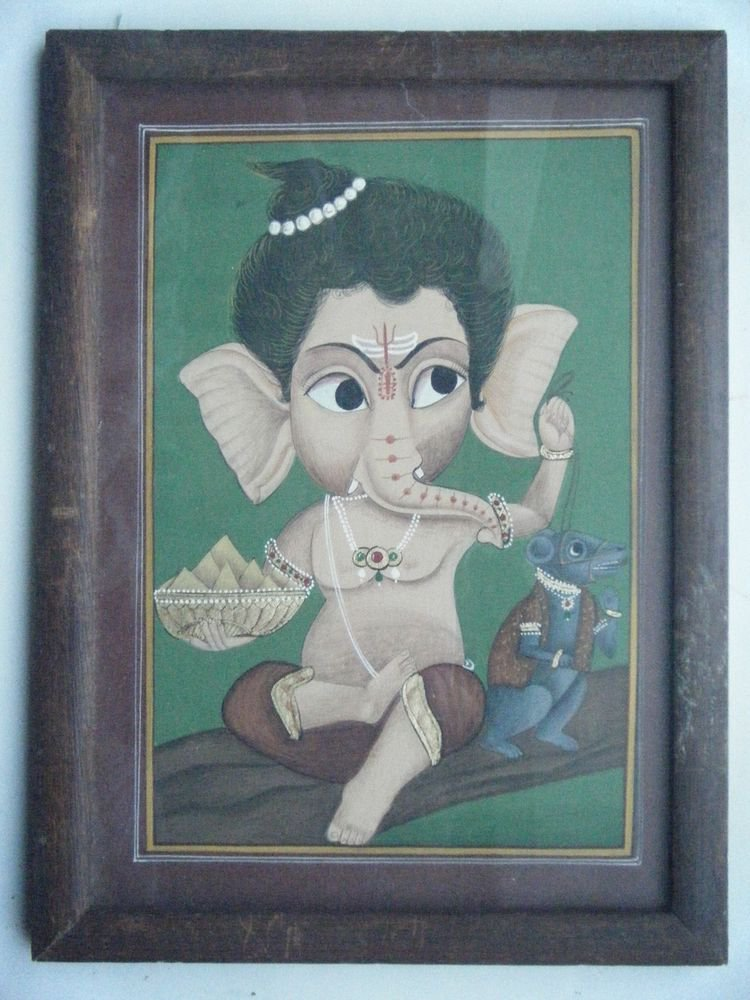 Hindu God Ganesha Old Original Color Hand Painting in Old Wooden Frame #2680