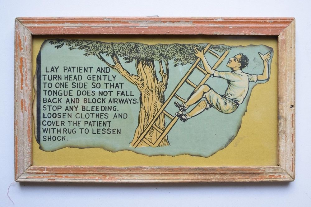 Old Educational Chart Calendar Learning School Print In Old Wooden Frame #3058