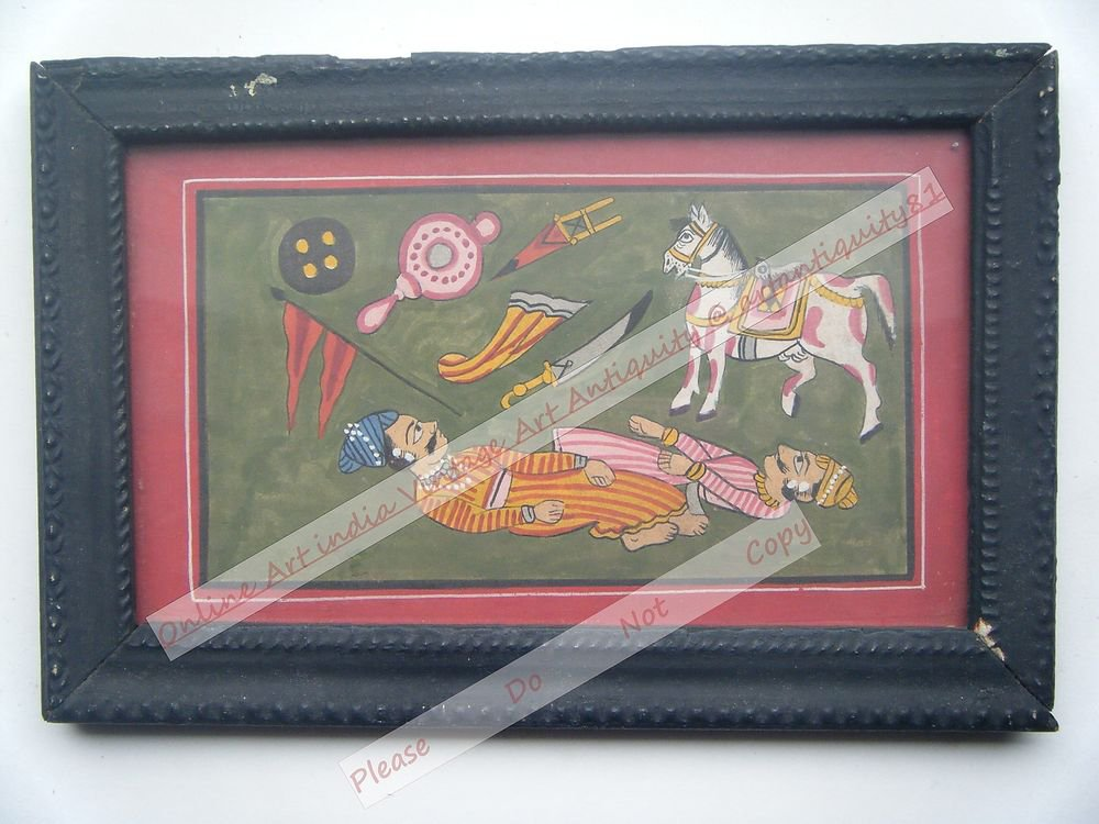 Beautiful Folk Style Original Hand Color Painting in Old Wooden Frame India#2566