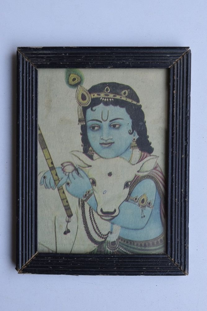 Krishna Collectible Rare Old Art Print in Old Wooden Frame from India #3308