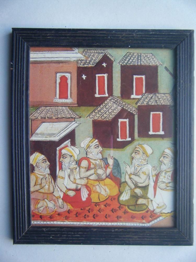 Sadhu Saint Nice Rare Old Religious Print in Old Wooden Frame India Art #2829