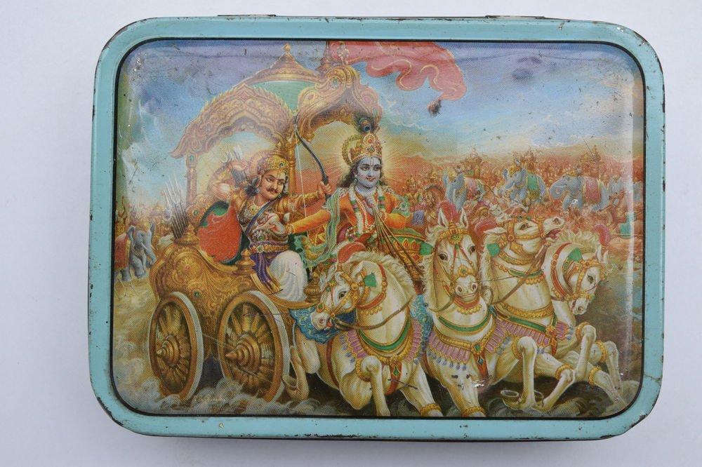 Old Sweets Tin Box, Rare Collectible Litho Printed Tin Boxes India #1457