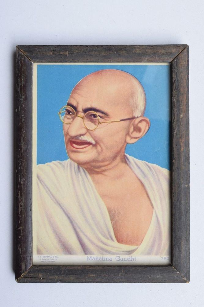 Mahatma Gandhi Bapu Rare Beautiful Vintage Print in Old Wooden Frame India #3213