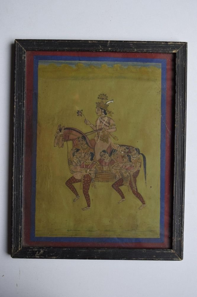 Hindu God on Horse Rare Hand Color Folk Painting in Old Wooden Frame India #3093