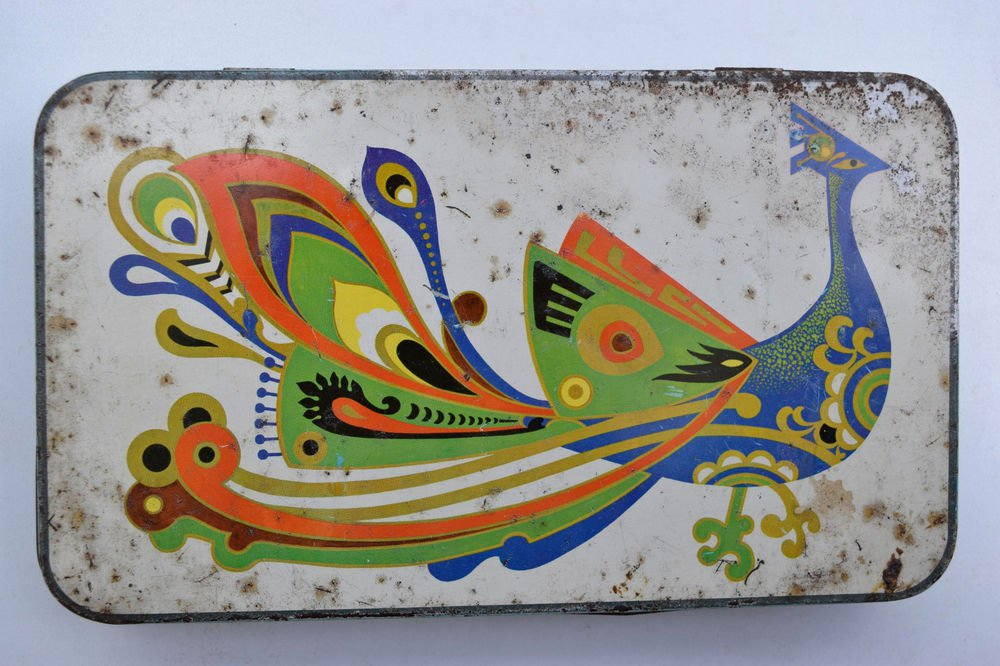Old Sweets Tin Box, Rare Collectible Litho Printed Tin Boxes India #1500