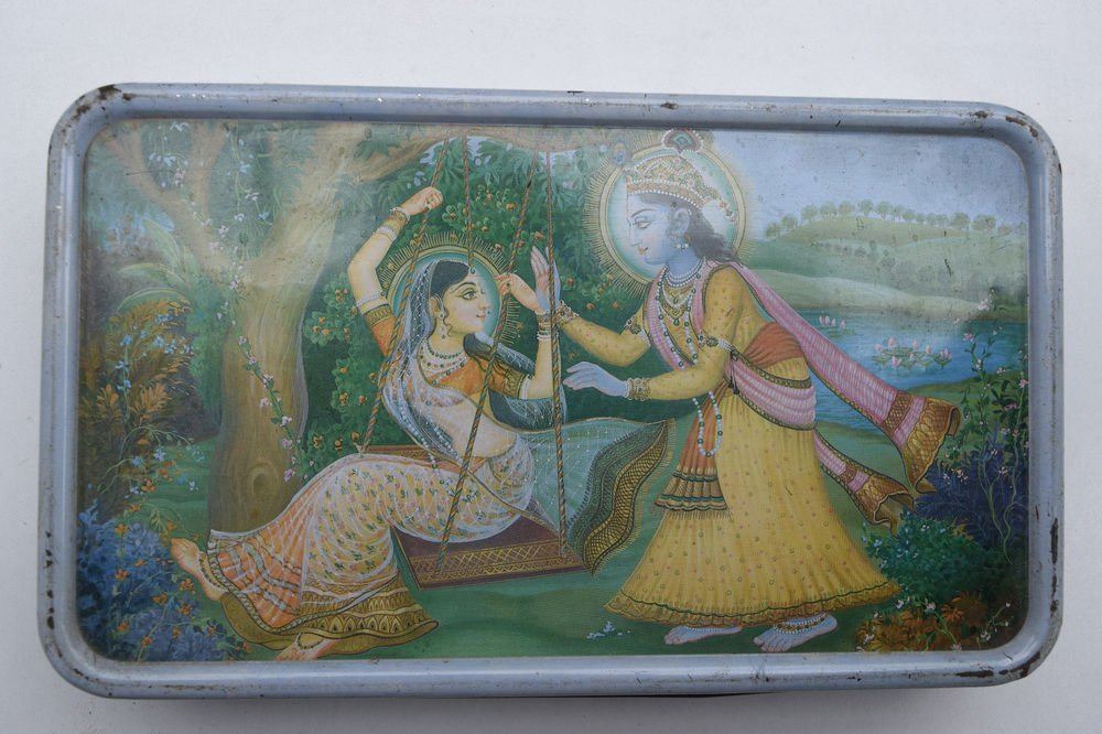 Old Sweets Tin Box, Rare Collectible Litho Printed Tin Boxes India #1443