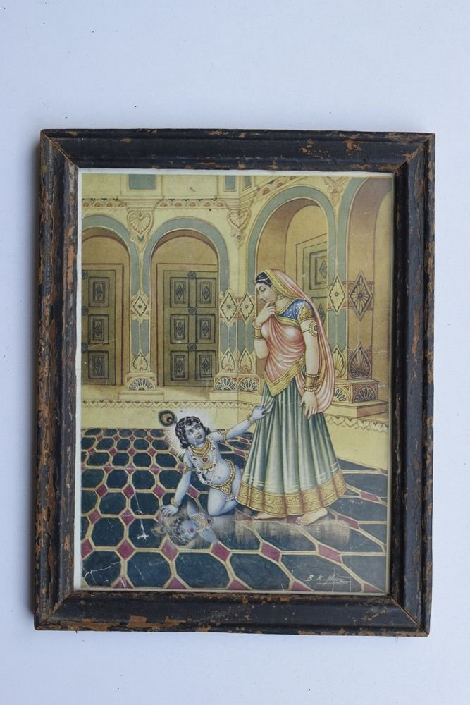 Krishna God Collectible Rare Old Art Print in Old Wooden Frame from India #3283