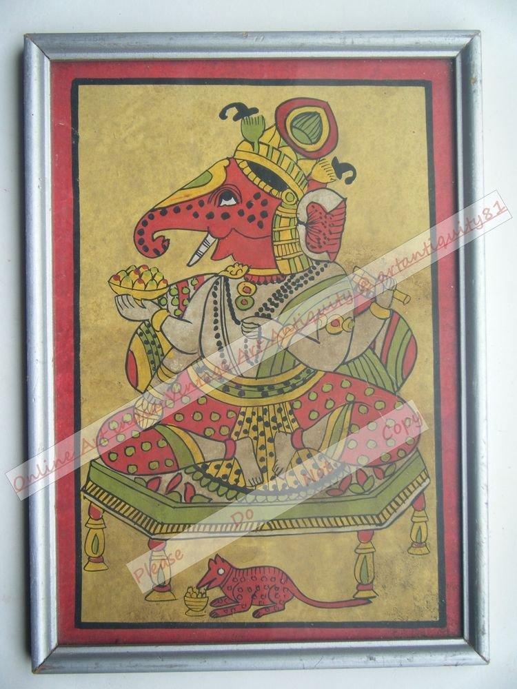 Hindu God Ganesha Old Original Hand Color Painting in Old Wooden Frame #2568