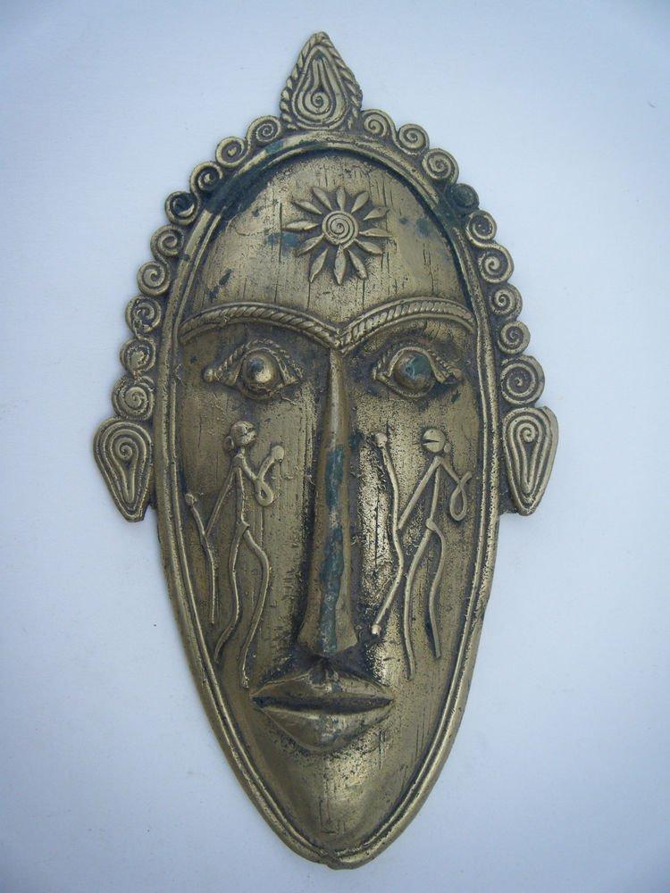 Tribal Brass Mask Old Rare Antique Vintage Handmade Original Indian Mask  #1053