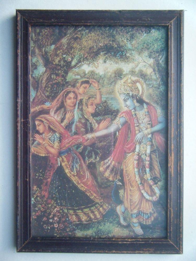 Hindu God Krishna Rare Old Religious Print in Old Wooden Frame India Art #2770