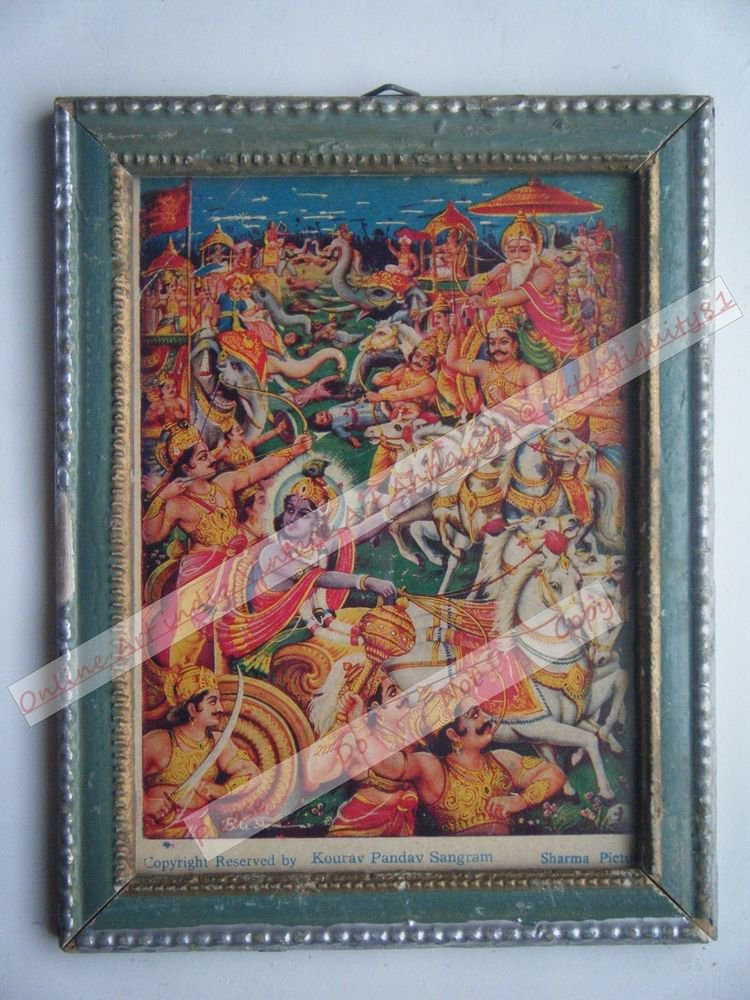 Hindu God Krishna Nice Old Religious Print in Old Wooden Frame India Art #2451