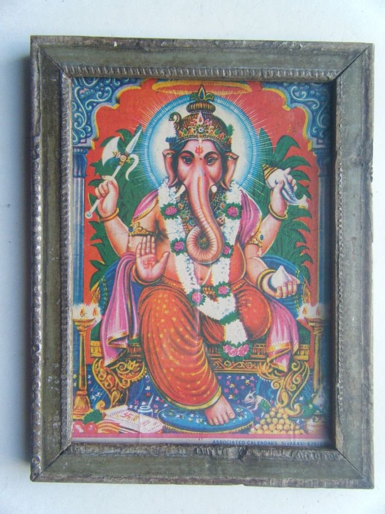 Hindu God Ganesha Old Religious Print in Old Wooden Frame India Art #2864