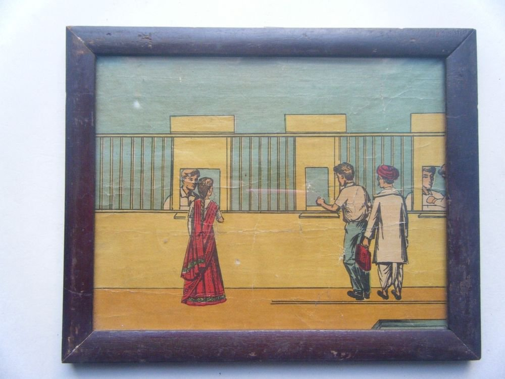 Old Educational Chart Calendar Learning School Print In Old Wooden Frame #2851