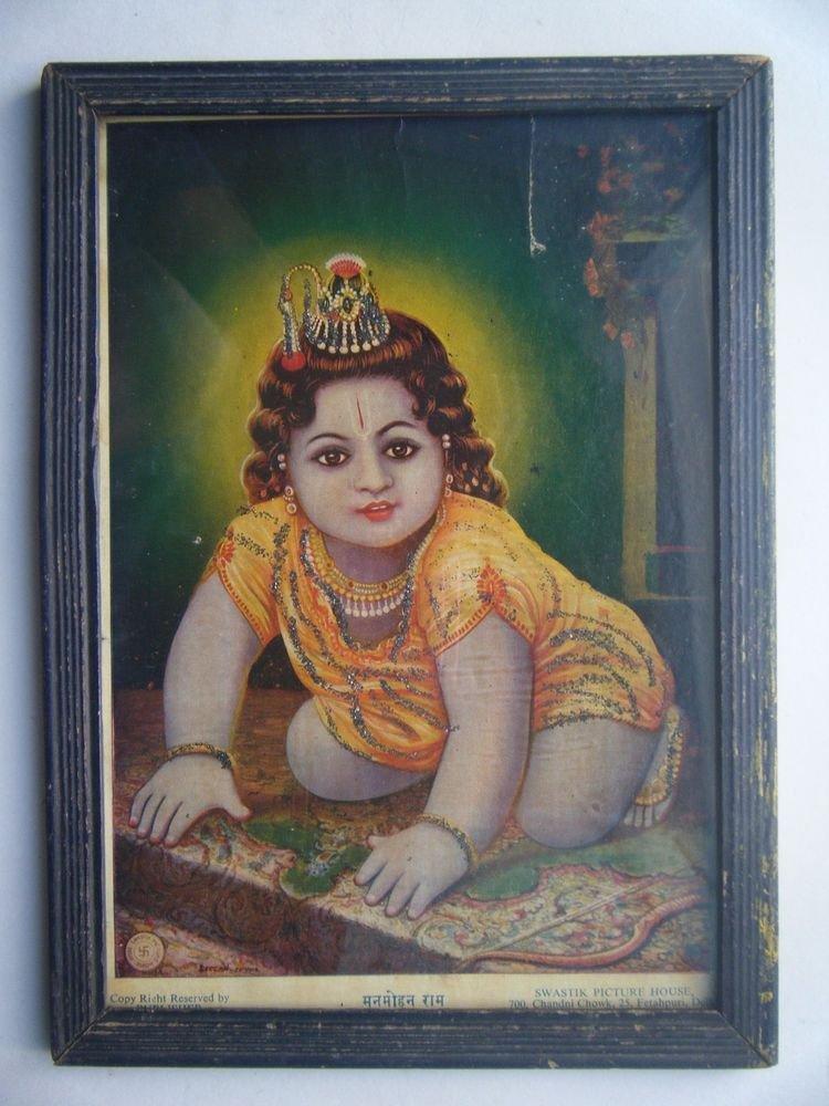 Hindu God Krishna Rare Old Religious Print in Old Wooden Frame India Art #2776