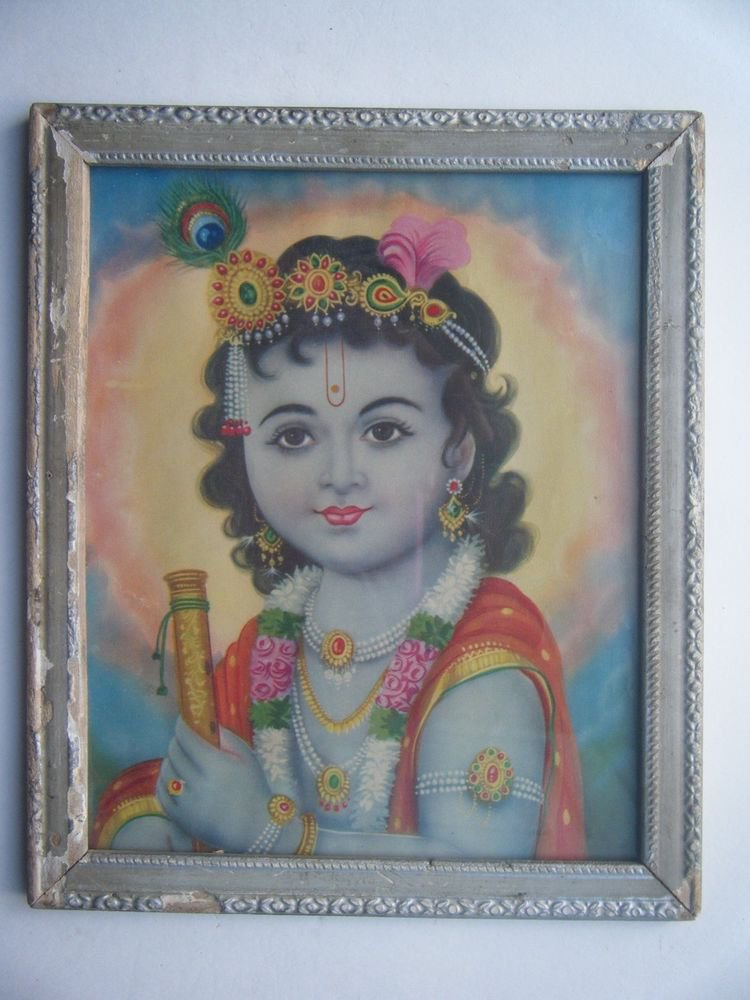 Hindu God Krishna Rare Old Religious Print in Old Wooden Frame India Art #2778