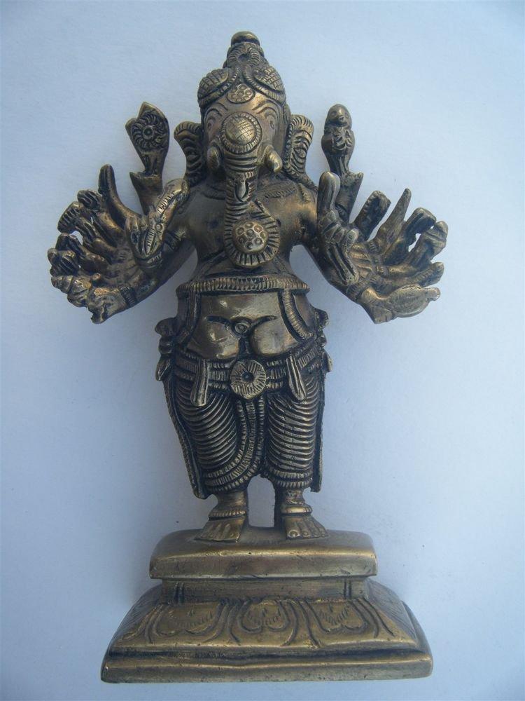 GANESHA Brass Statue Vintage Traditional Indian Elephant God Small Figure #967