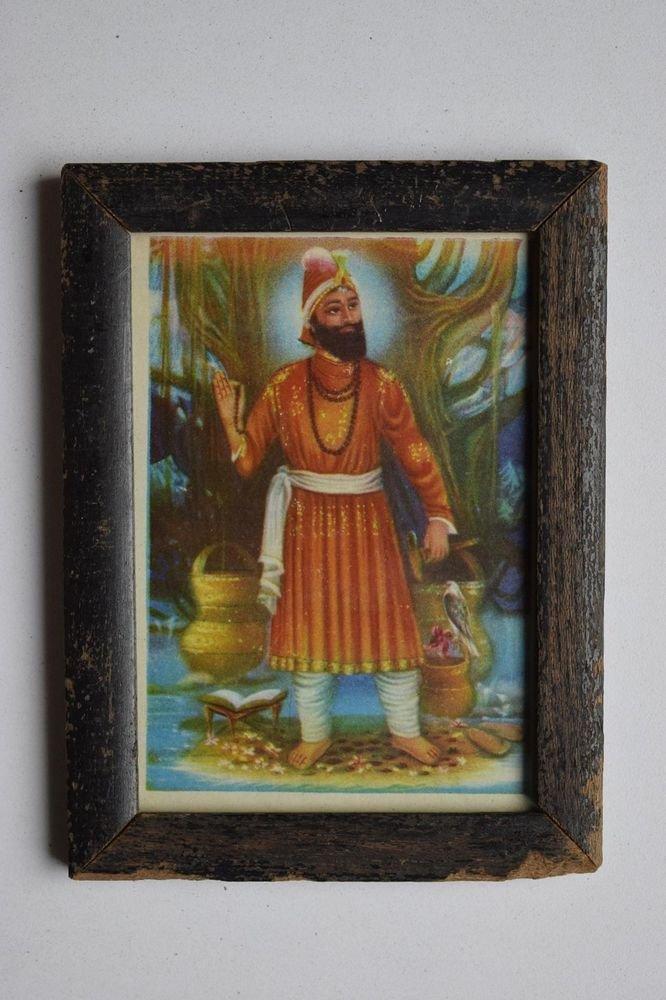 Sikh Guru Govind Singhji Old Religious Print in Old Wooden Frame India Art #3142
