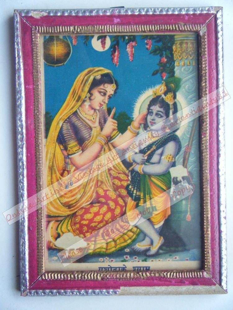 Hindu God Krishna Nice Old Religious Print in Old Wooden Frame India Art #2447