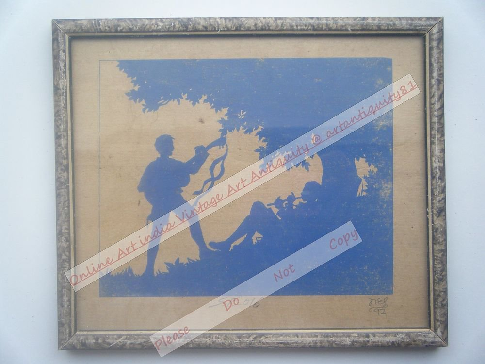Boy Beautiful Signed Art Print in Old Handmade Wooden Frame India #2366