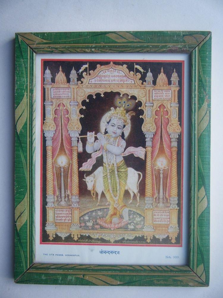 Hindu God Krishna Rare Old Religious Print in Old Wooden Frame India Art #2775