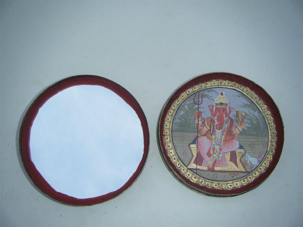 GATTAJI Antique Brass Box with INDIAN Miniature Painting Hindu God Worship #1088