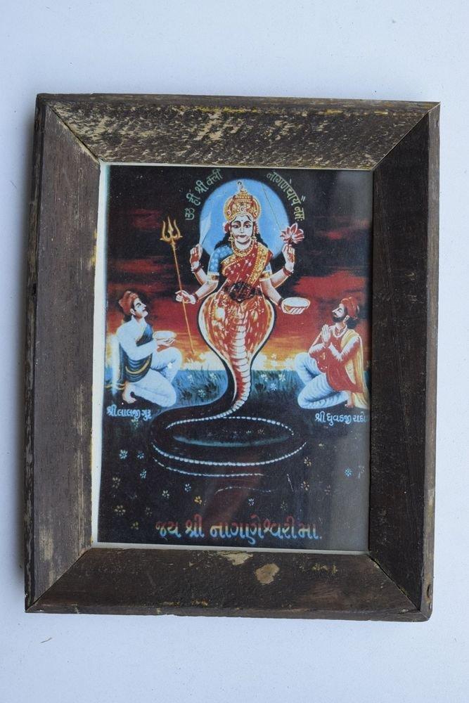 Goddess Naageshwari Maa Rare Old Religious Art Print in Old Wooden Frame #3342