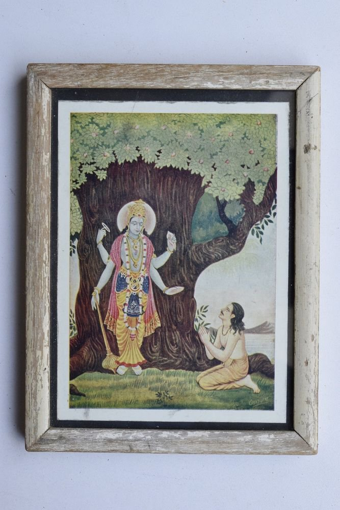 Vishnu Collectible Rare Old Religious Art Print in Old Wooden Frame India #3323