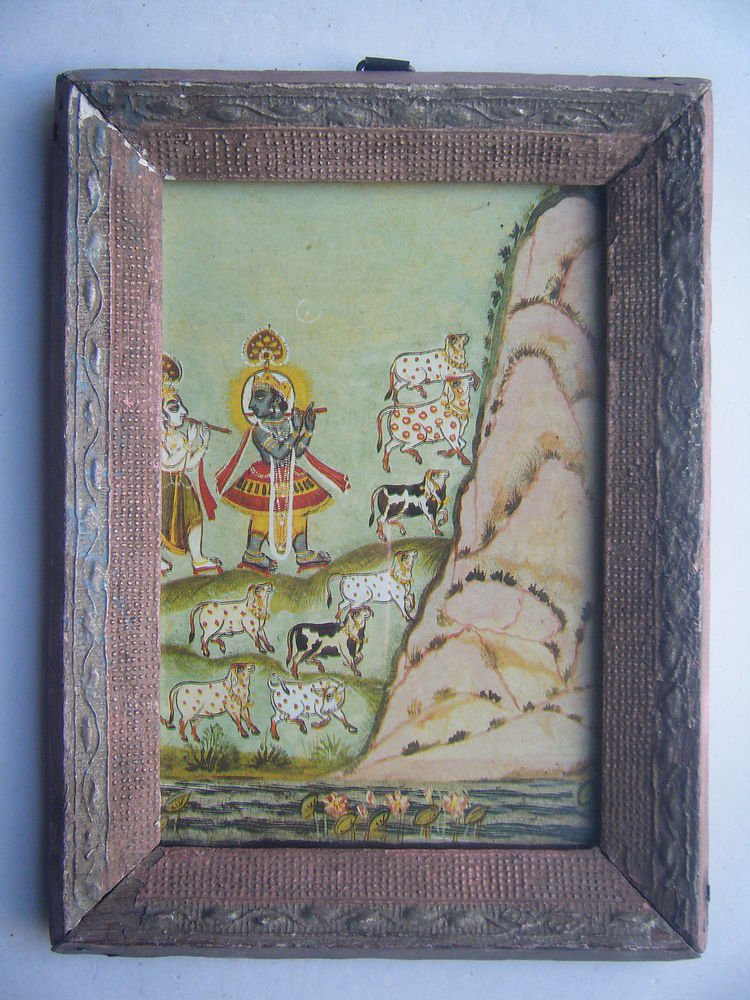 Hindu God Krishna Old Religious Print in Old Wooden Frame India Art #2823