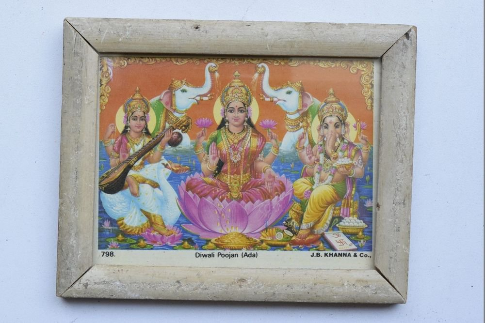 Goddess Laxmi Collectible Rare Old Religious Art Print in Old Wooden Frame #3346