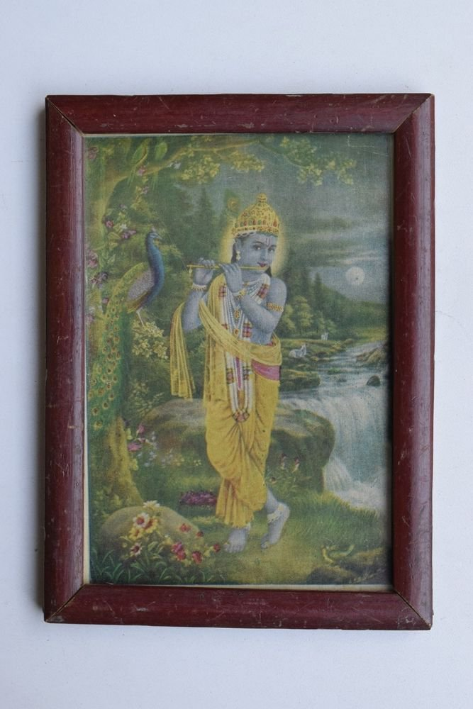 Krishna Collectible Rare Old Art Print in Old Wooden Frame from India #3301