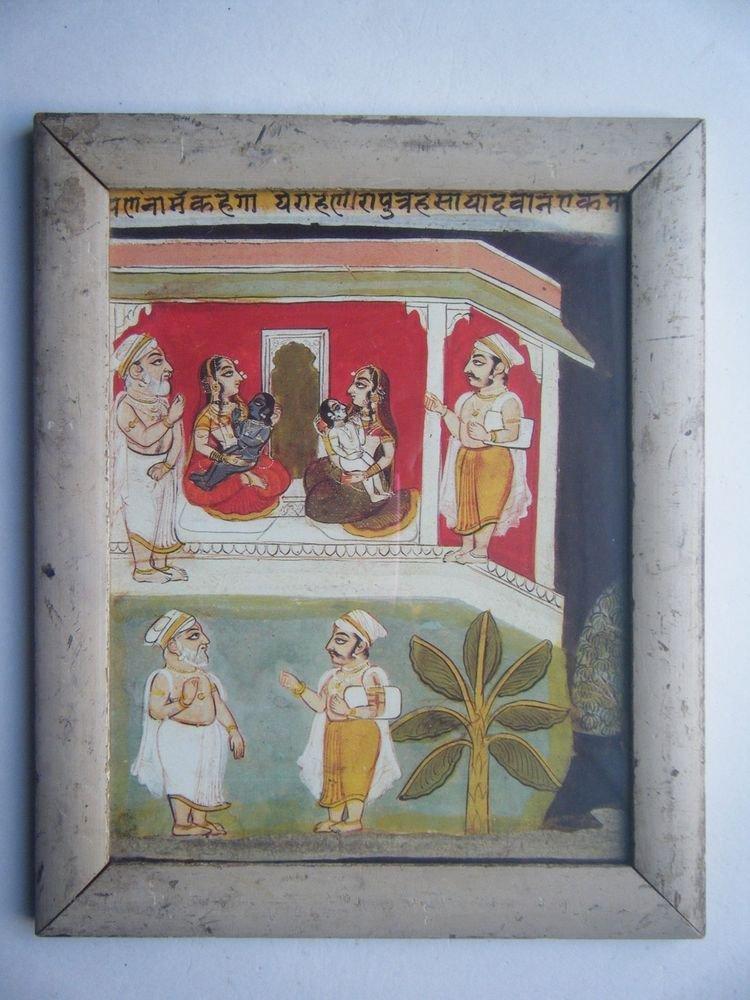Hindu God Krishna Balram Old Religious Print in Old Wooden Frame India Art #2824