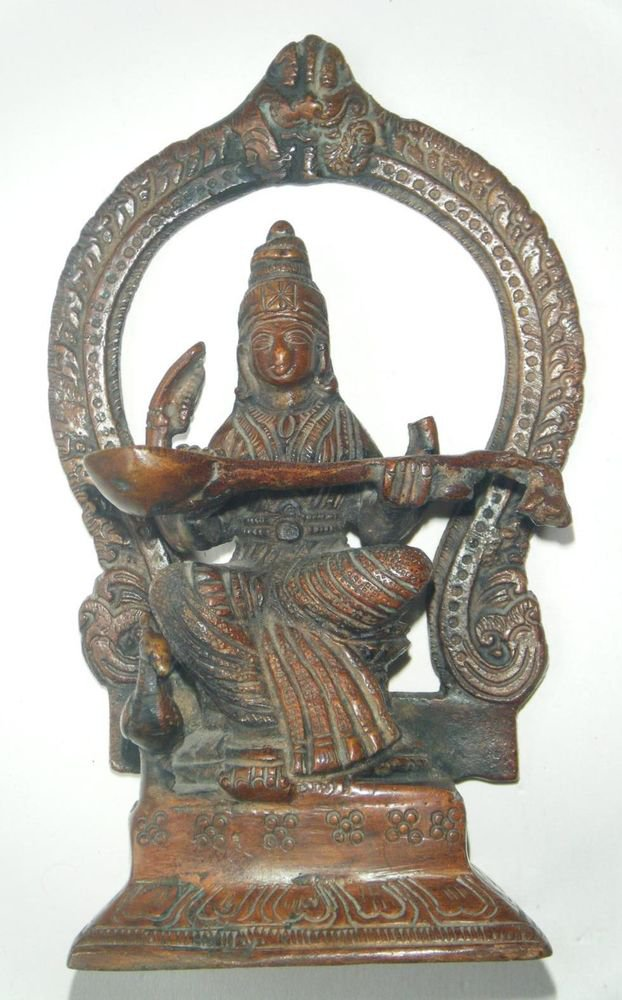 Antique Goddess Saraswati Traditional Indian Statue Brass Rare Collectible #619