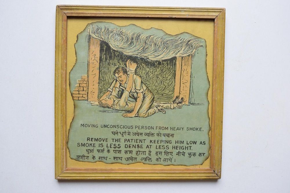 Old Educational Chart Calendar Learning School Print In Old Wooden Frame #3041