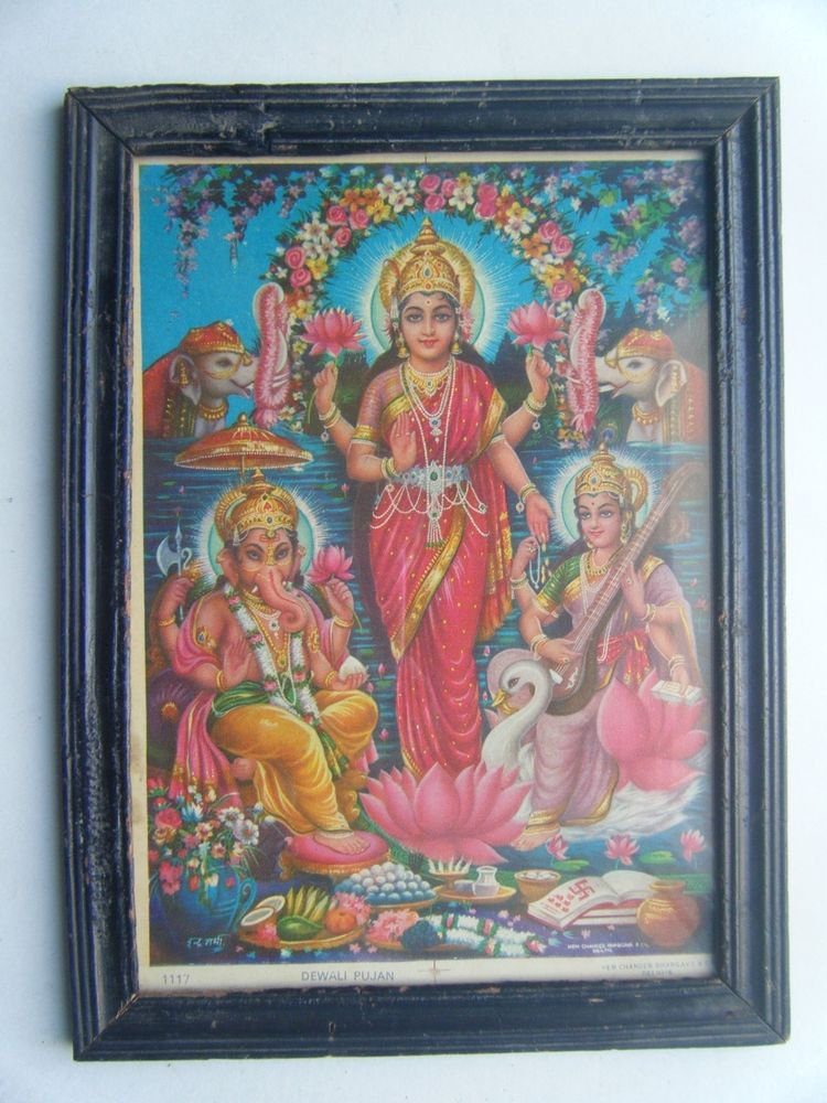 Goddess Laxmi Old Religious Print in Old Wooden Frame India Art #2863